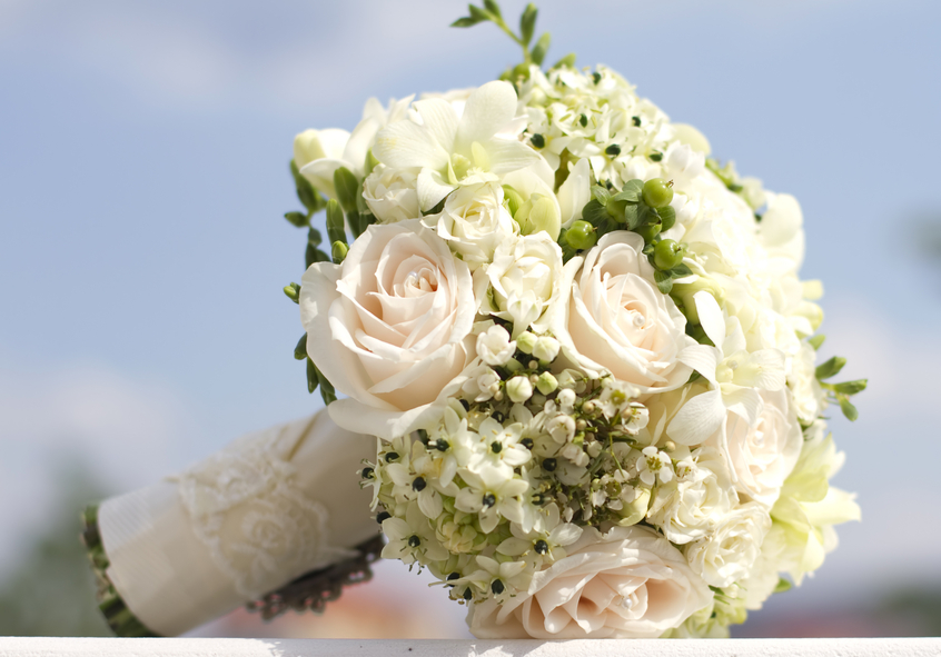 Hand Tied Wedding Bouquet Of Flowers